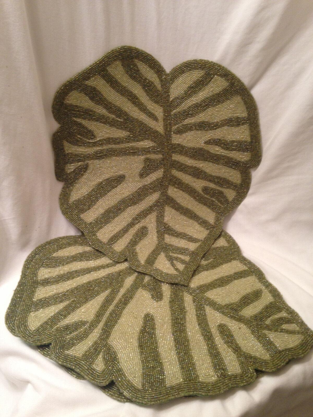 Neuf Avec étiquettes Lot de 4 Z Gallerie Verre Perles GRN Mix Palm Leaf sets de table avec serviette Anneaux