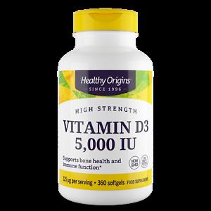 Healthy Origins Vitamin D3 5,000iu 360 Softgels Immune Health & Strong Bones