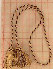 "Black and golden beige curtain tie back tassels 45"" key braided 3.25"" tassels"