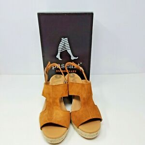NEW Paseart Women's Suede Wedge Espadrilles Sandals Brownn Made in Spain Size 8