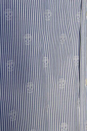schedel dubbele Pin Mcqueen kraag print Zeldzame nieuwe lange shirt Stripe Alexander manchet Iqz4B4