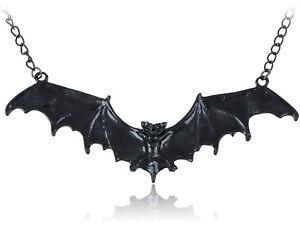 Frightening-Halloween-Black-Enamel-Paint-Flying-Bat-Metal-Chain-Necklace-Pendant