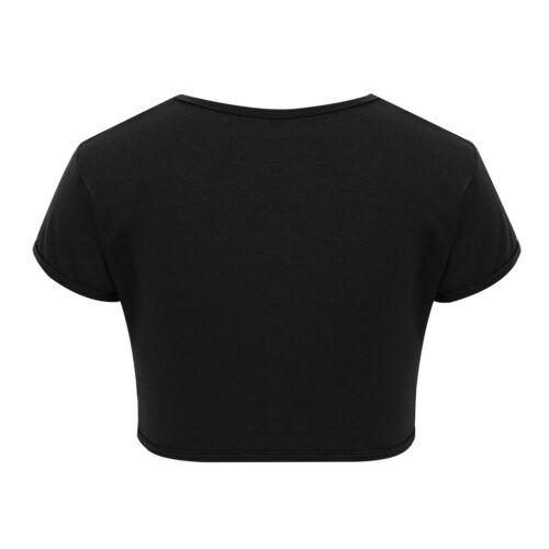 Filles à Manches Courtes Crop Top T-Shirt Enfants Gymnastique Danse Débardeurs gilet sport