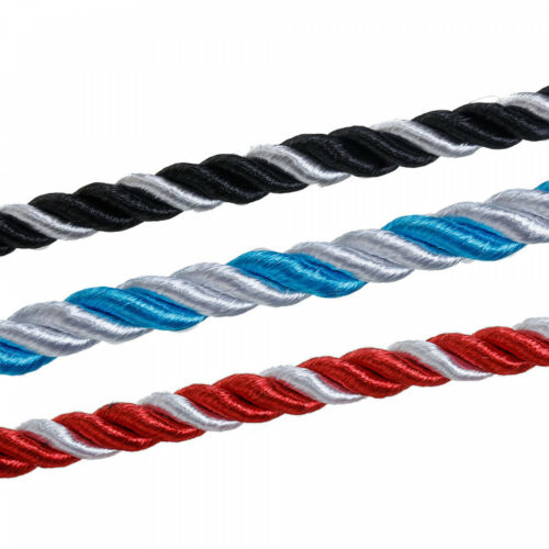 Torsadé Bicolore Bande Rouge Bleu Noir par M 1m Coton Corde 5mm