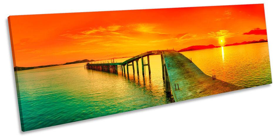 SUNSET Pier Pier Pier Jetty Seascape Canvas Wall Art panoramico incorniciato stampa 95b3cf
