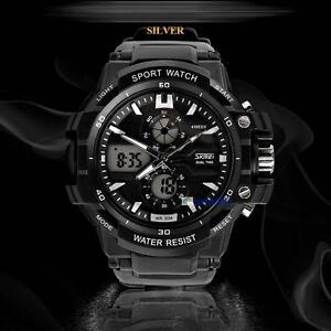 Dual-Digital-Movement-Men-Waterproof-Sports-Wrist-Date-Alarm-Stop-Watch-White-BC