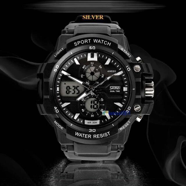 Dual Digital Movement Men Waterproof Sports Wrist Date Alarm Stop Watch White BC