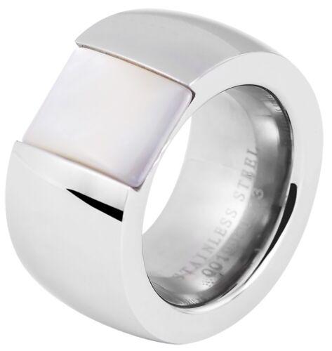 Akzent Damenring Edelstahl Ring Silberfarbig Weiß Glänzend Freundschaftsring