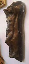 "Cast Bronze Sculpture Statue Nude Woman Reclining Marble Base 50 lb  26"" x11""x7"""