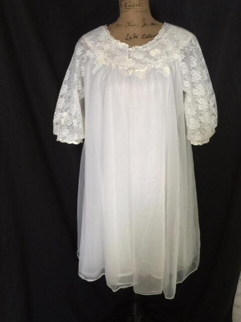 VTG Warners White BABYDOLL 4 layer Sheer Chiffon Peignoir Robe Nightgown S