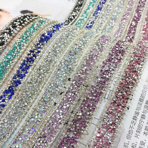 Image is loading Shiny-Crystal-Rhinestone-Riband-Wedding-Dress-DIY-Sewing- 3ac809009