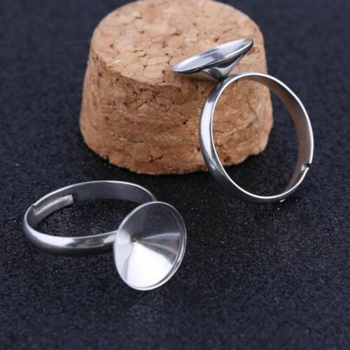 10Pcs Ring Base Settings Stainless Steel Fit 12mm Stone DIY Blank Bezels Trays