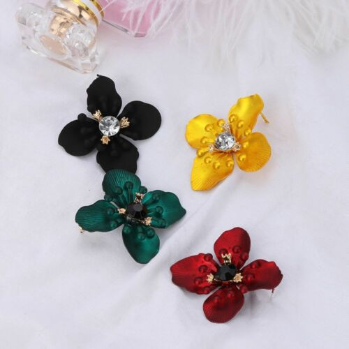 Women/'s Stud Earrings Big Flower Gem Crystal Rhinestone Painted Alloy Jewelry