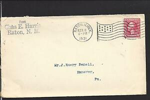 RATON-NEW-MEXICO-COVER-1921-FLAG-MACHINE-CL-COLFAX-CO-1880-OP