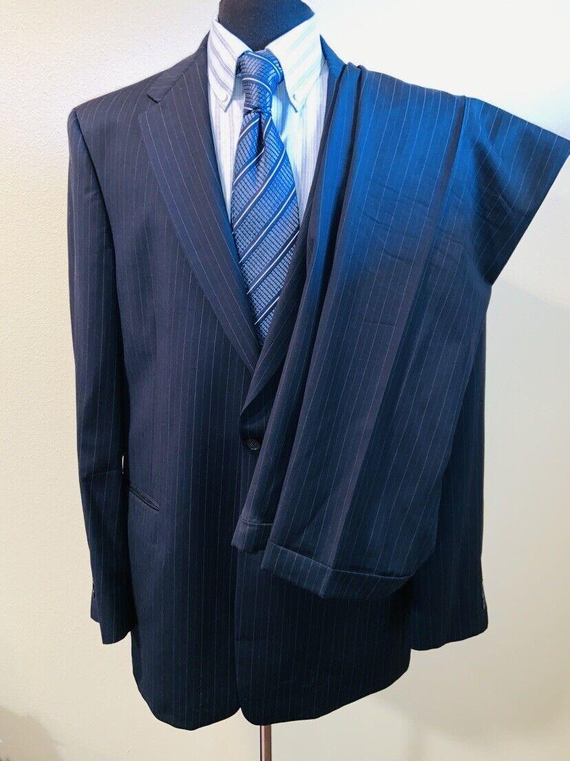 Superb Hart Schaffner Marx Pinstripe bluee Suit Sz 46XL 37X35