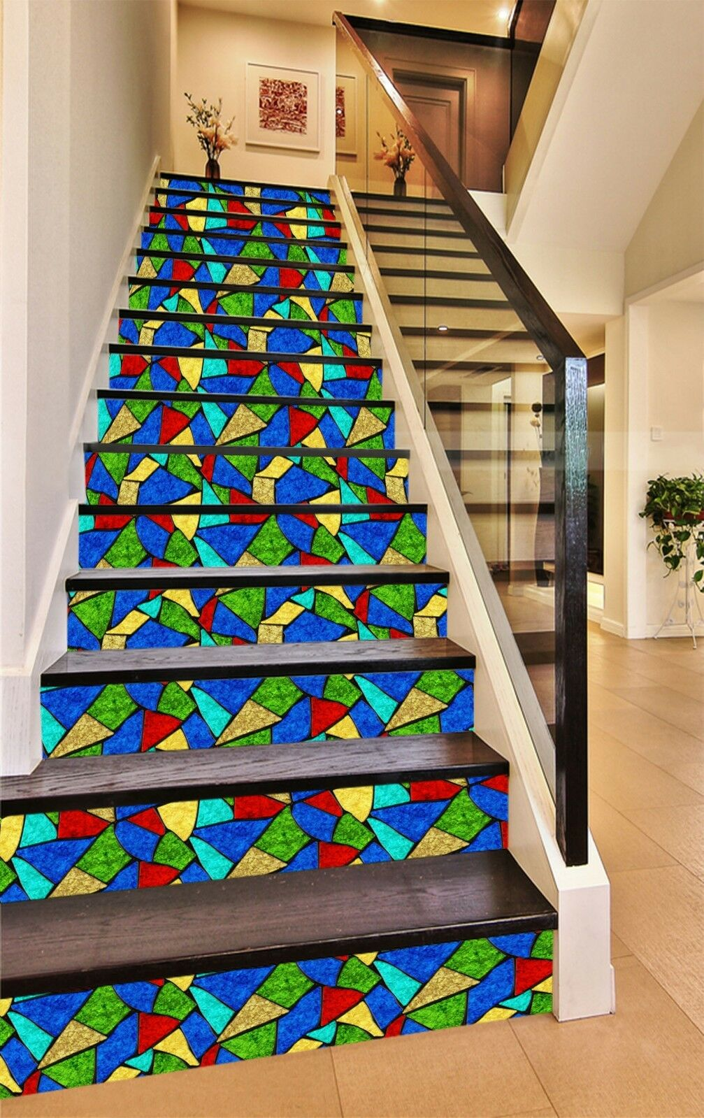 3D color Shard Stair Risers Decoration Photo Mural Vinyl Decal Wallpaper AU