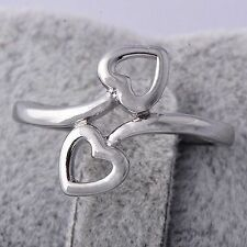 Knuckle White Gold Filled Womens Heart Stainless Steel Ring Size 6 Wholesale