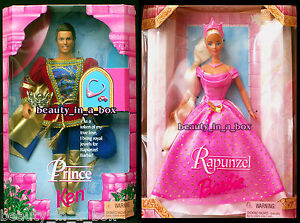 Rapunzel-Prince-Doll-Rare-Together-Fairy-Tale-Mattel-Barbie-Ken-Doll-034-Lot-2-EXC