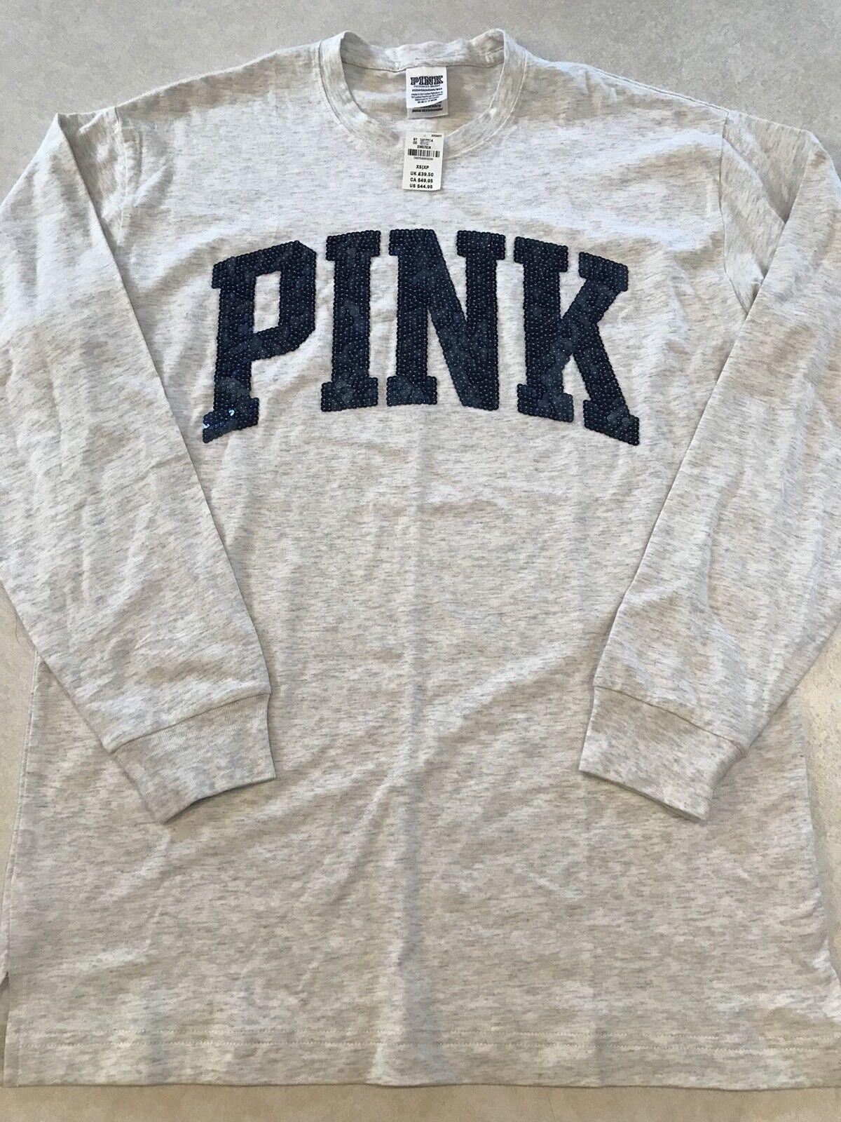 Victoria/'s Secret Pink BLING SET Dog Sequin Leggings Campus Iridscent Tee Size L