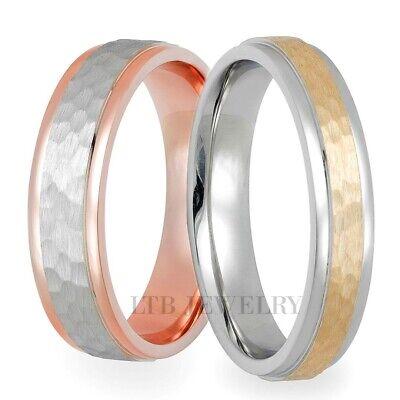 14k Zweifarbig Gold Ihn & Sie Trauring Band Ringe Gehämmerte Oberfläche Produkte HeißEr Verkauf