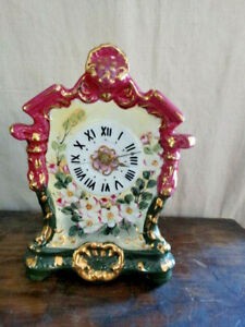 Limoges China Floral Mantle Style Desk Clock