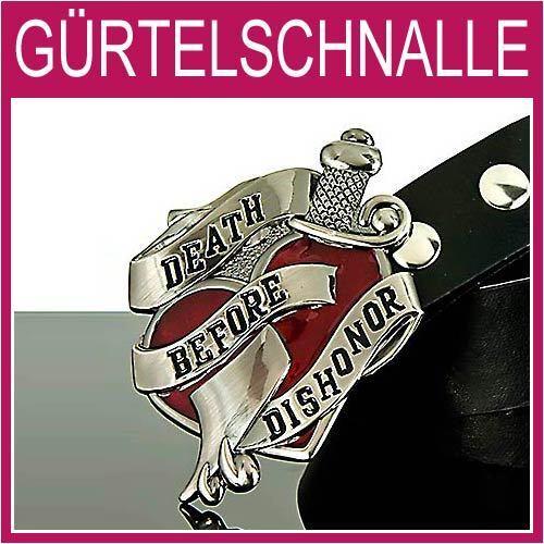 Death before Dishonor Gürtelschnalle,Herz rot Herren,Damen,Gürtel,BUCKLE,1G28f