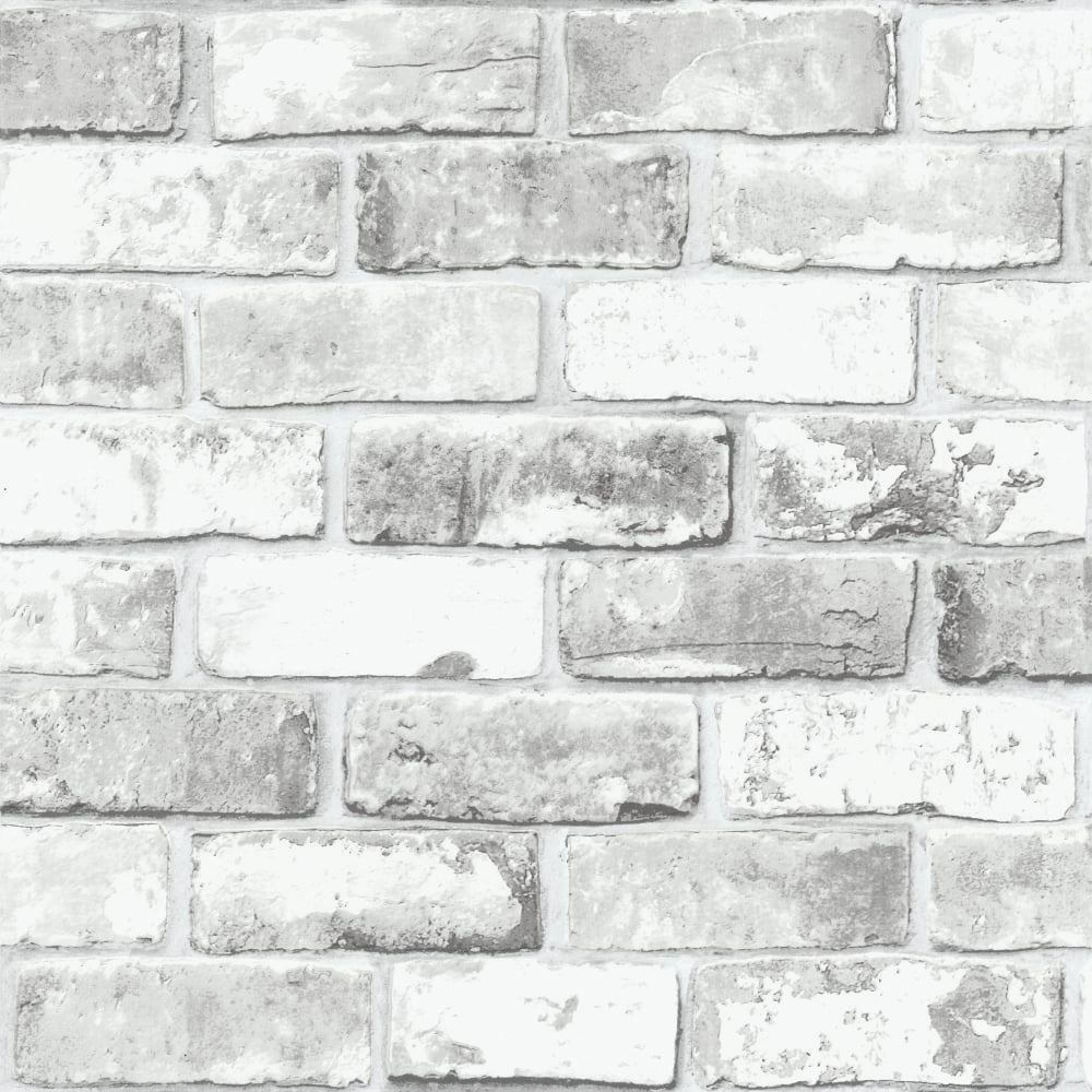 Details About White Brick Wall With Grey Shimmer Tones Effect Faux Feature Wallpaper 6751