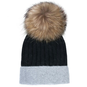 fc29c59f1e2 Black and Gray Women s Beanie Hat with Natural Fur Pom-pom Soft and ...