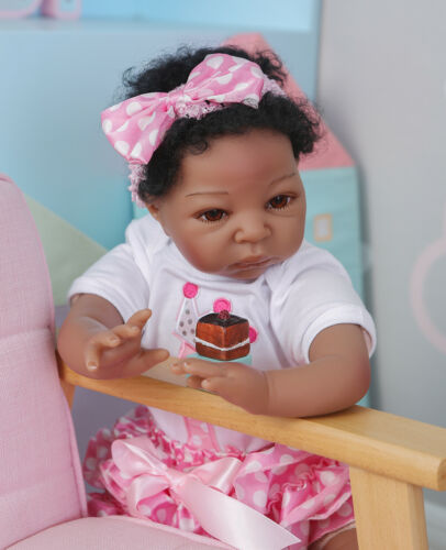 """Black 20/"""" Reborn Baby Girl Doll African American Silicone Toddler Girl Real Size"""