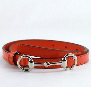 b82354e334b  425 Gucci Orange Leather Skinny Belt w Silver Horsebit Buckle 70 28 ...