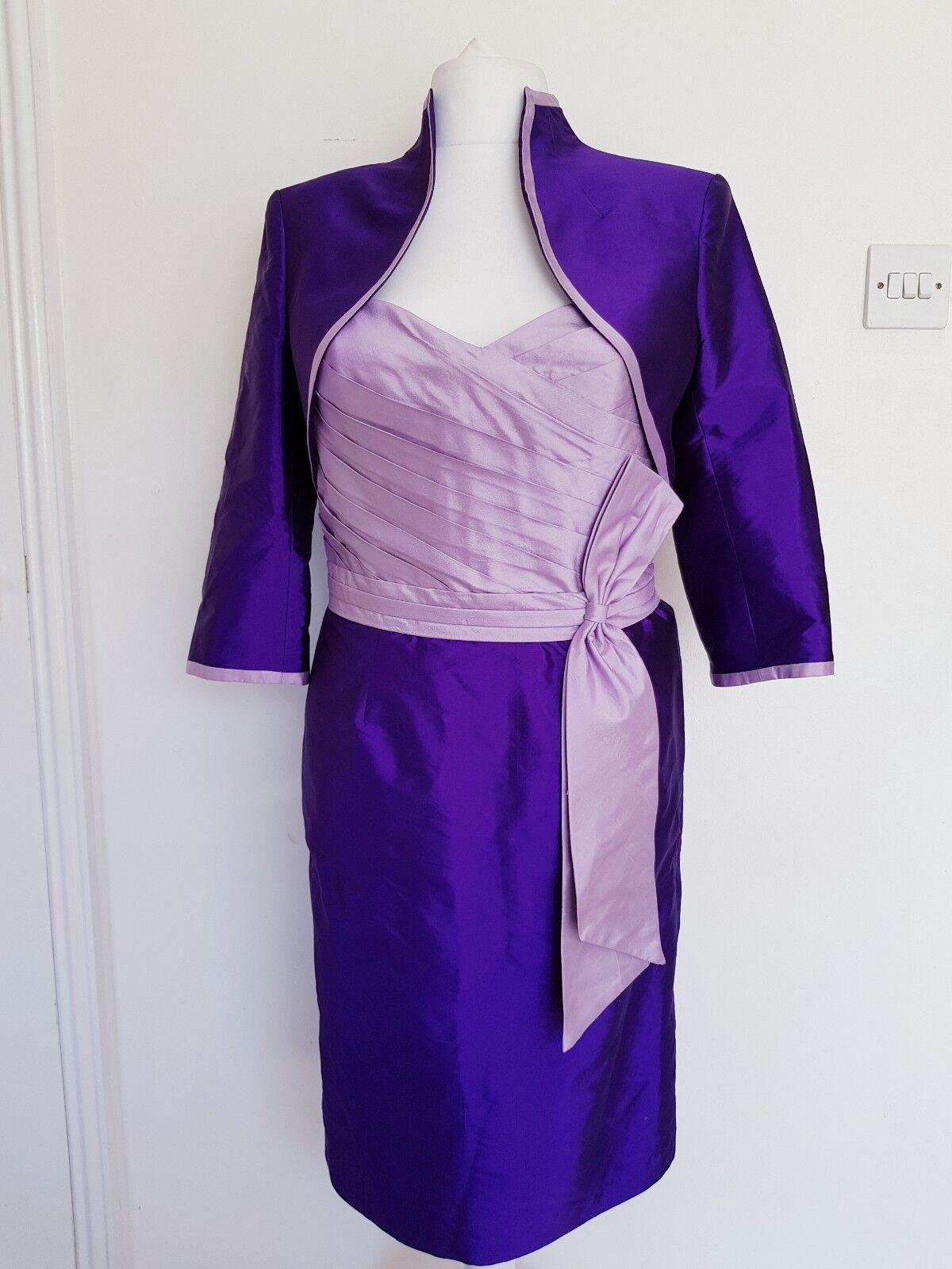 Veni Infantino Embellished Dress for Ronald Joyce- Purple & Lilac Sz 14 Silk