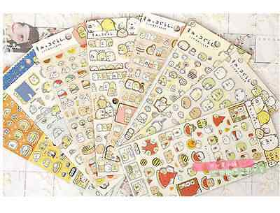 San-X Lot 4 Sumikko Gurashi Japanese golden lining stickers Cute Kawaii Animal