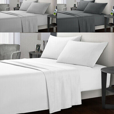 4pc Sheet Set Egyptian Cotton Grey Solid 400Tc Of Ultra Soft Bed Sheets Sets