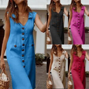Women-039-s-Summer-Fashion-Solid-Dresses-Loose-Sleeveless-V-Neck-Pockets-Long-Dress