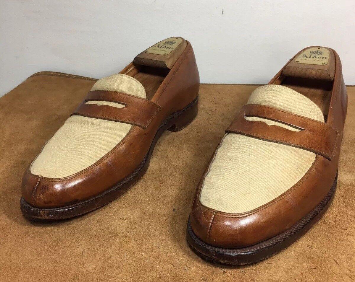 Crockett & Jones Canvas Leather Loafers Slip On scarpe Men's 8.5 Made In England