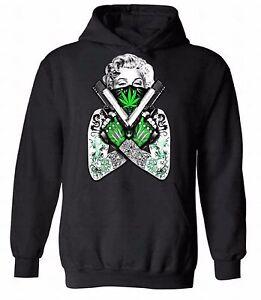 Marilyn-Monroe-Marijuana-Leaf-Guns-HOODIE-Sweatshirt-Sweater-Hooded-Gangster