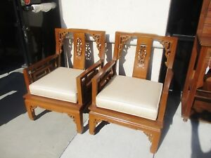 Details About Pr Of Chinese Teak Wood Arm Chairs W Cushions Mid Century