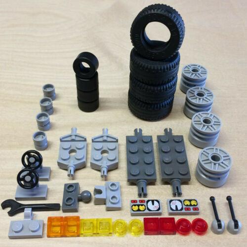 NEW LEGO VEHICLE LOT RACE TIRES 30.4x14 14x9 Wheels Axles... Car Road Slicks