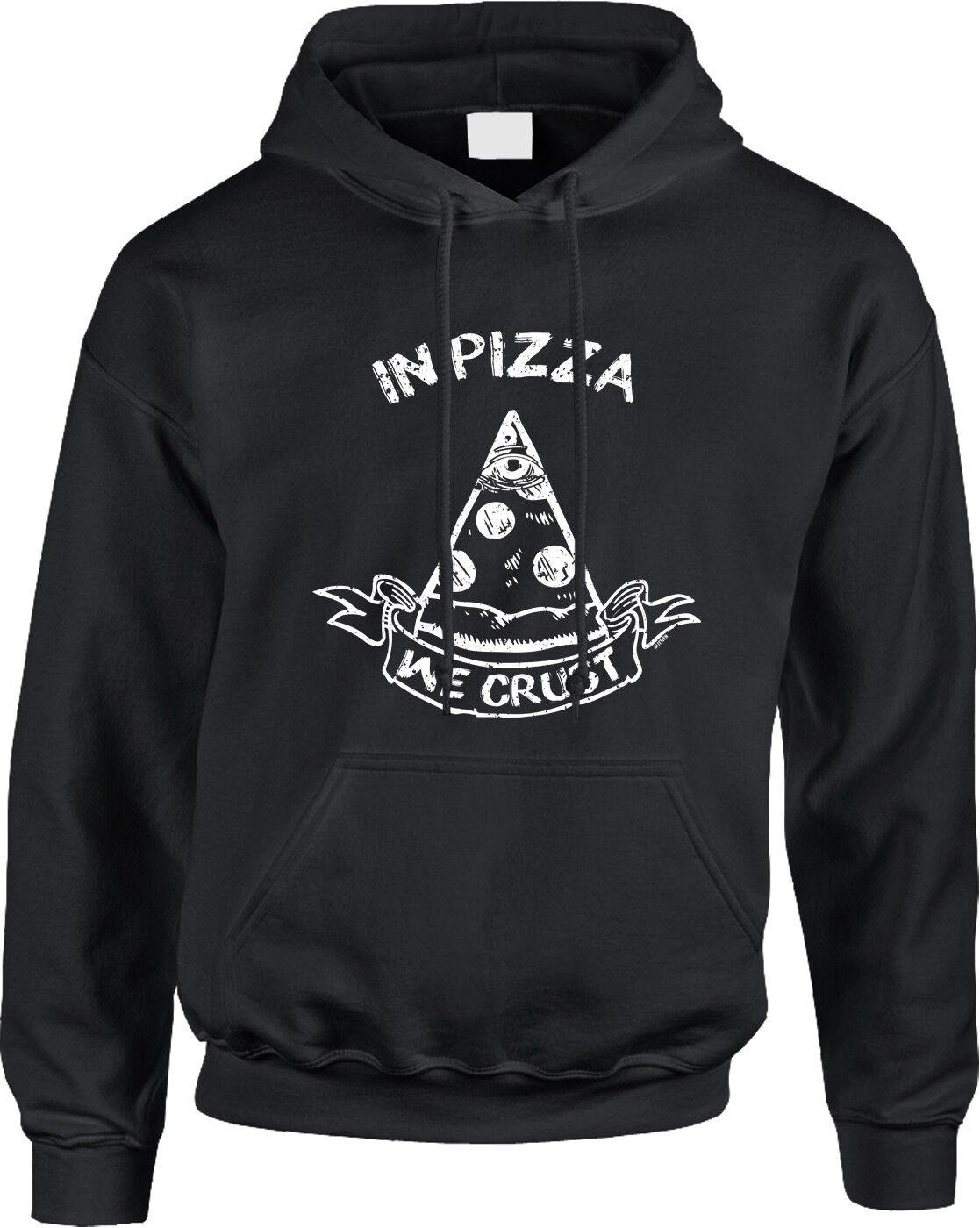 In Pizza We Crust Trust Illuminati Parody Joke Funny Humor Food Meme Mens Hoodie