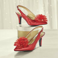 Womens Size 7 W Red Grande Slingback Andiamo High Heeled Flower Shoes