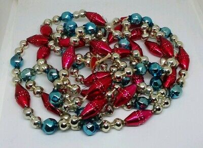 Antique Large Mercury Glass Christmas SILVER Garland Beads Lot of 10 Fat Tubes