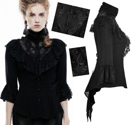 Chemise gothique lolita victorien volant dentelle brodé corset traîne PunkRave