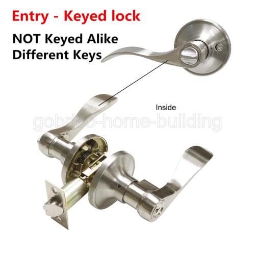 Satin Nickel Door Lock Lever Keyed Entry Keyless Privacy Passage Dummy Deadbolt
