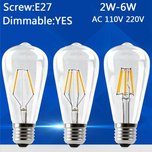 LED Filament Edison Bulb ST64 Dimmable Retro Globe Lamp 110V Vintage Light 2W 6W