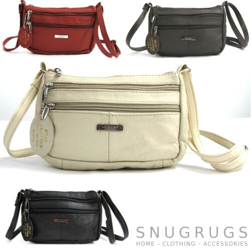 WHITE Ref:377205 NEW GENUINE REAL LEATHER COMPACT CROSS BODY BAG BROWN RED