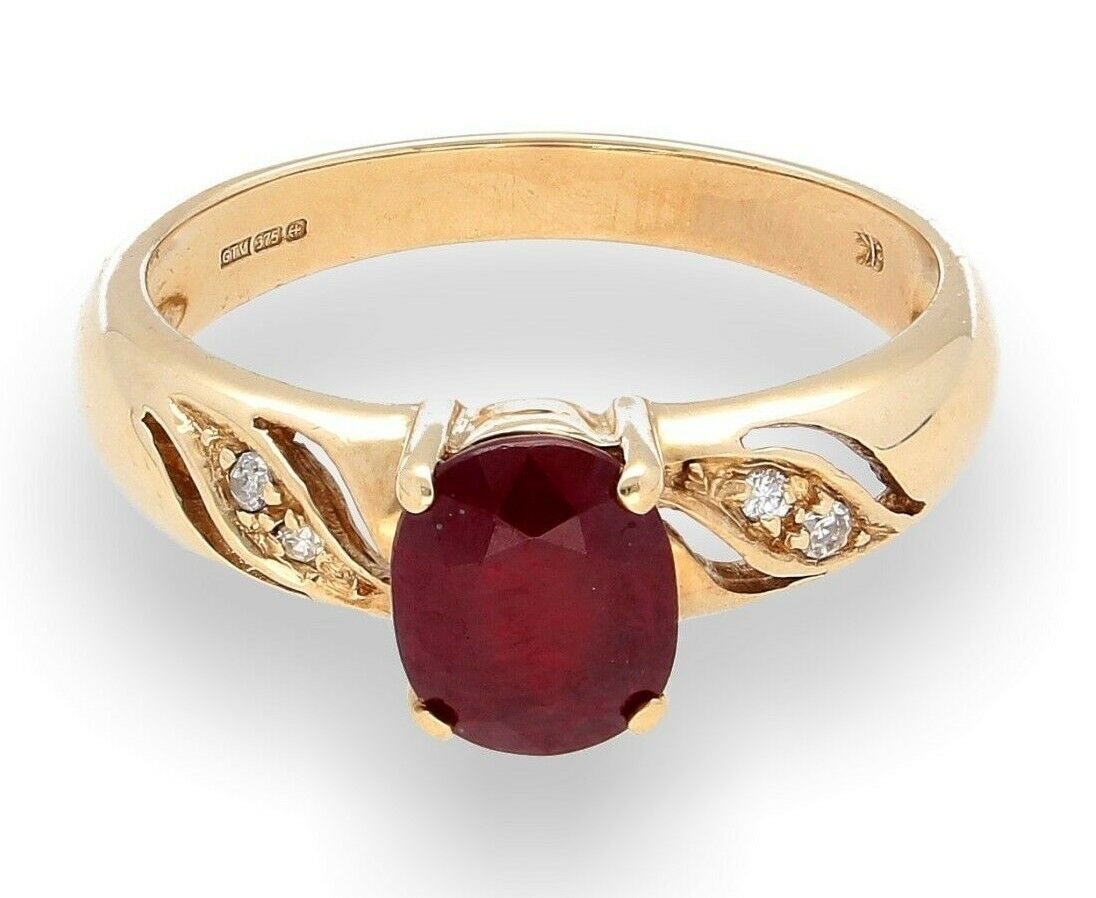 9Ct Yellow gold 1.00ct Ruby Solitaire Ring w  0.05ct Diamond Accents (Size N)