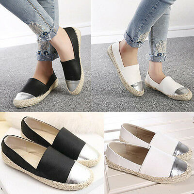 Women Faux Leather Weave Flats Boat Shoes Loafers Espadrilles Moccasin Casual