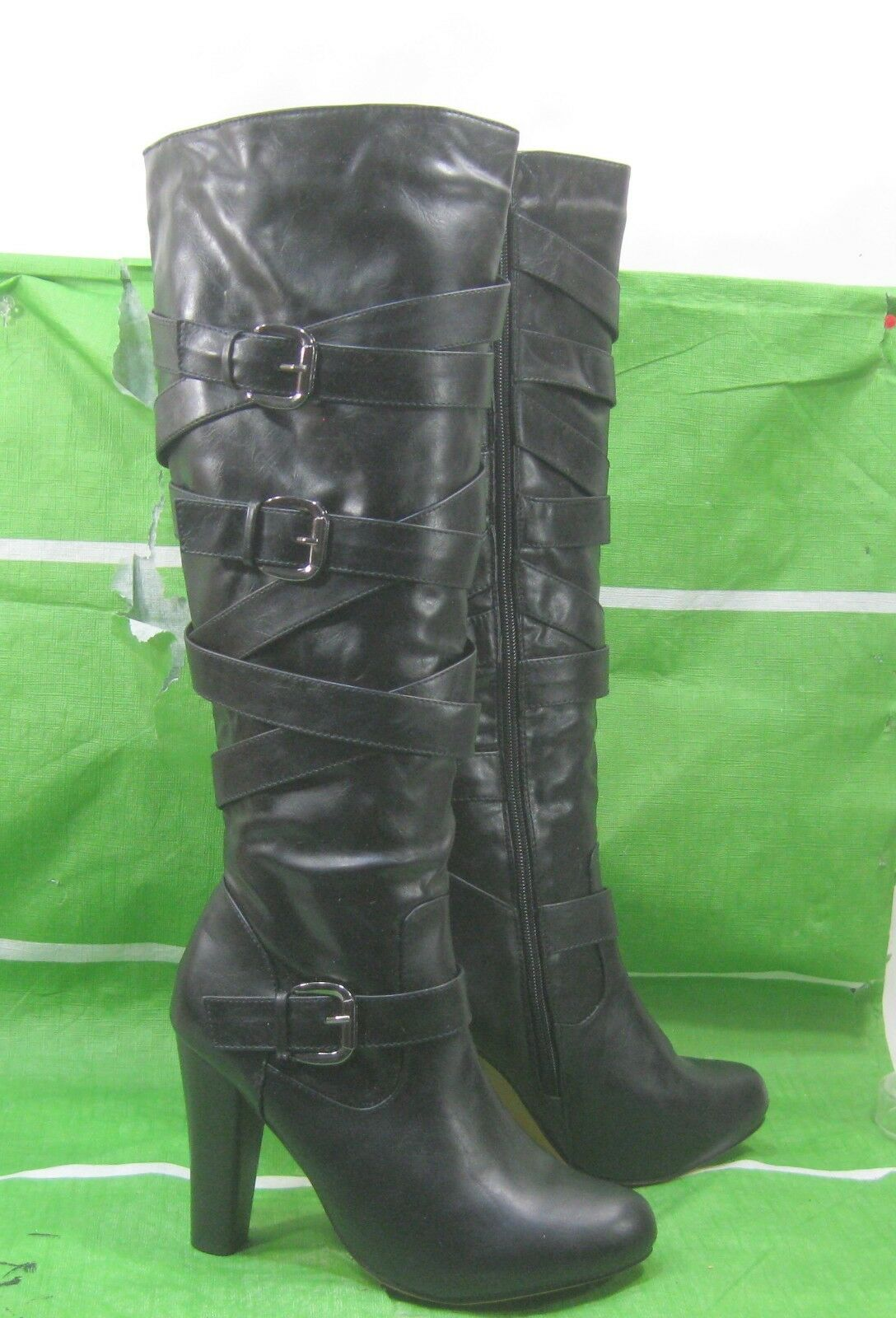 New ladies Black 4.5  High High Heel Round Toe Sexy Knee Boots Size 8