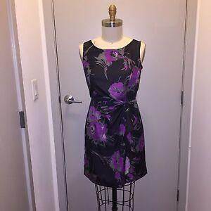 0cc4d3df7378 Banana Republic Sleeveless Black Purple Gray Faux Wrap Dress Size 8P ...
