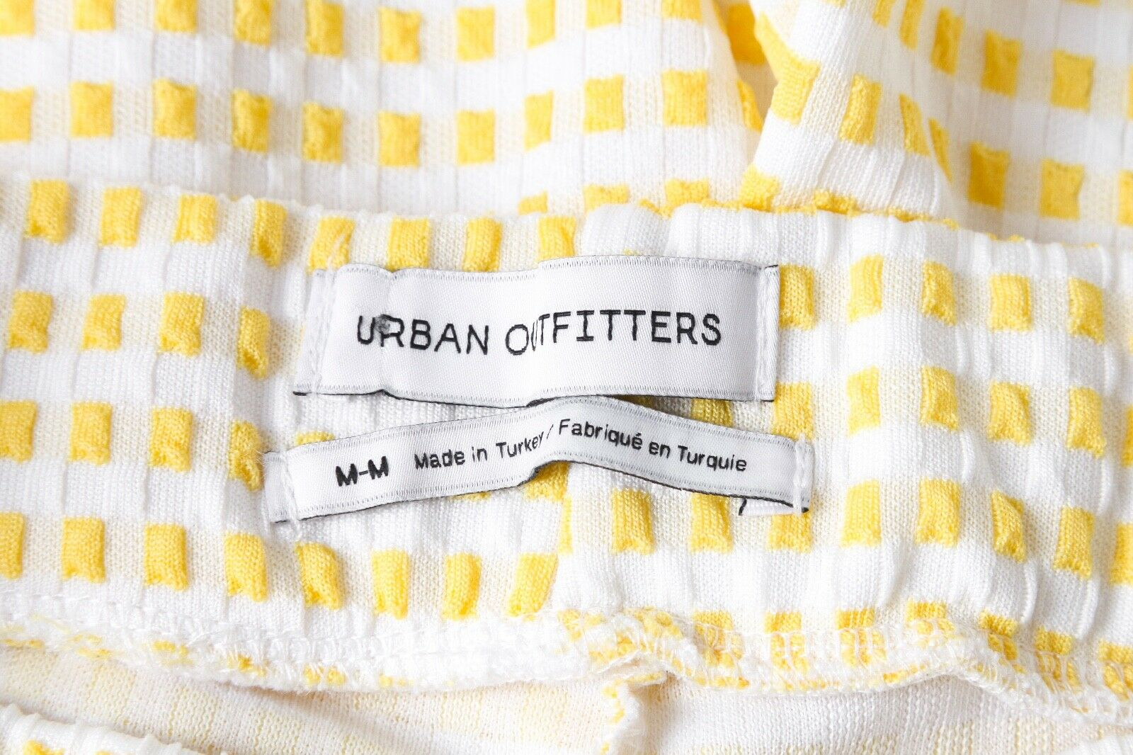 URBAN OUTFITTERS Check Pants Medium Yellow White … - image 4